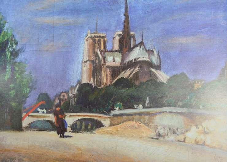 Iosif Iser, Peisaj cu Catedrala Notre Dame