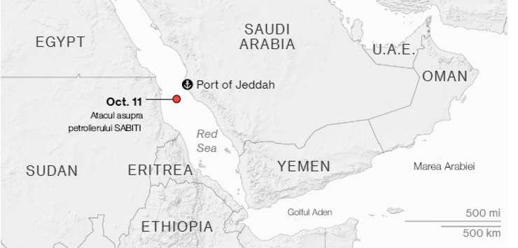 Atacul asupra petrolierului iranian in Marea Rosie
