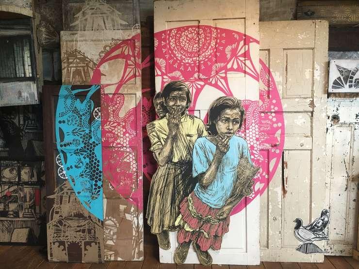 Lucrare realizata de artista americana Swoon în cadrul expozitiei temporare de la Fluctuart Paris