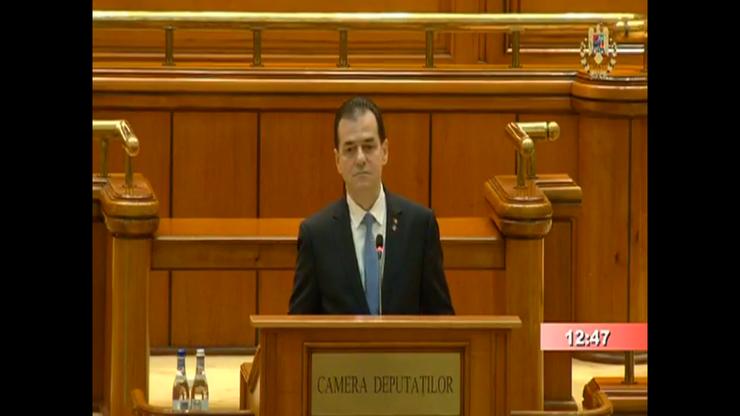 Premierul Ludovic Orban răspunde criticilor PSD, de la tribuna Parlamentului (captură video)