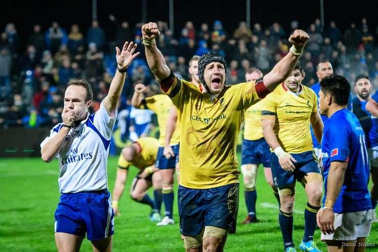 Mihai Macovei jubilează la finalul meciului România - Samoa