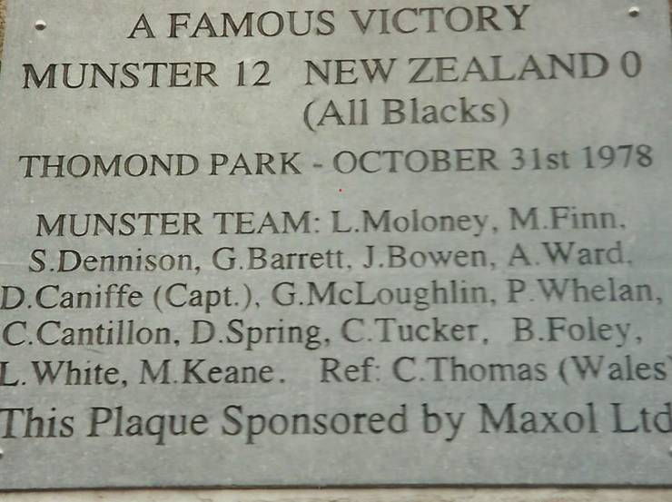 Placă comemorativă Thomond Park - Munster