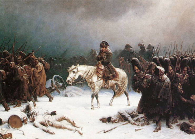 Napoleon pe drumul de retragere de la Moscova.