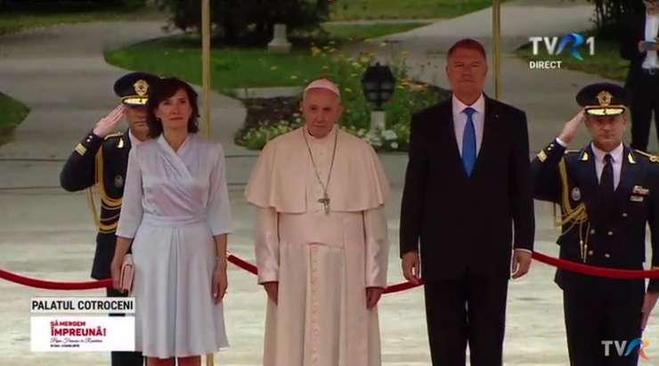 Papa Francisc, la Palatul Cotroceni (Foto: captură TVR 1)