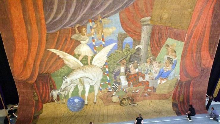 Picasso- Perdea pentru baletul 'Parada' 1917 creata pentru scena Théâtre du Châtelet Paris.