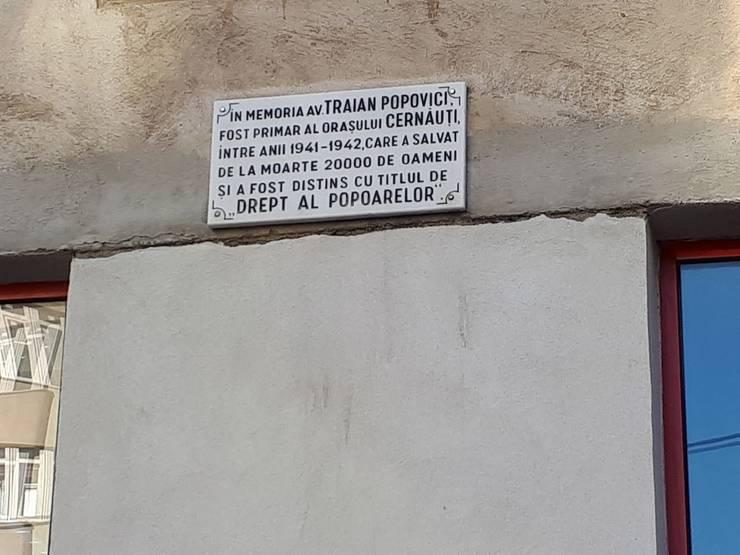 Placa memorială Traian Popovici