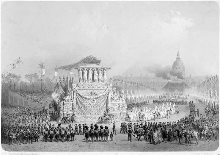 Carul funebru al lui Napoleon se îndreaptà spre Invalizi, dupà Adolphe Jean-Baptiste Bayot si Eugène Charles François Guérard. Muzeul Armatei, Paris.
