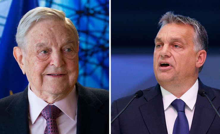 George Soros (stânga) și Viktor Orban