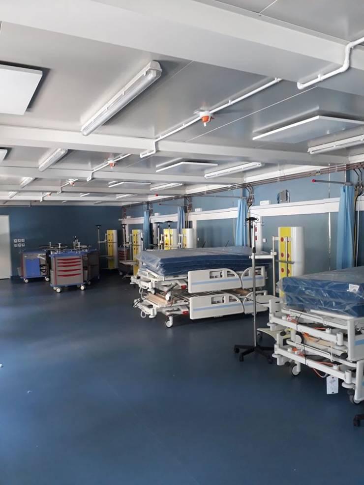 Spitalul modular din curtea spitalului Elias (Sursa foto: Facebook/Asociația Dăruiește Viață)