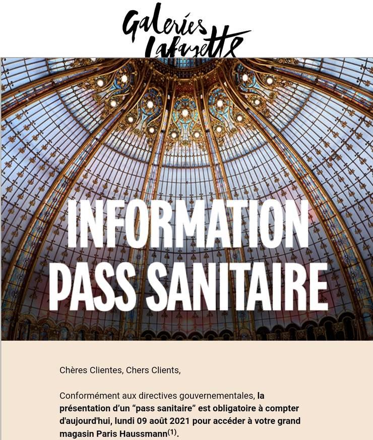 Mail informativ primit de clientii fideli ai lui Galeries Lafayette.