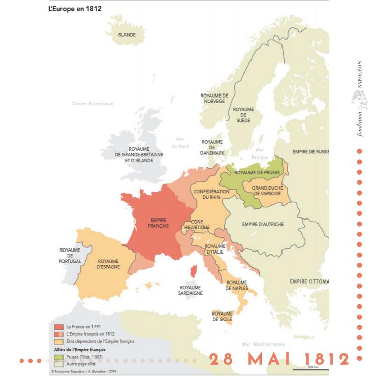 Harta Europei în 1812, în momentul semnàrii tratatului de la Bucuresti.
