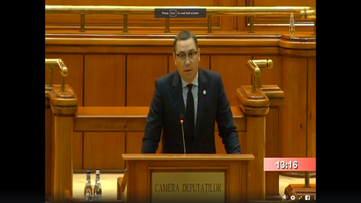 Victor Ponta, la dezbaterea moțiunii de cenzură (captură video)