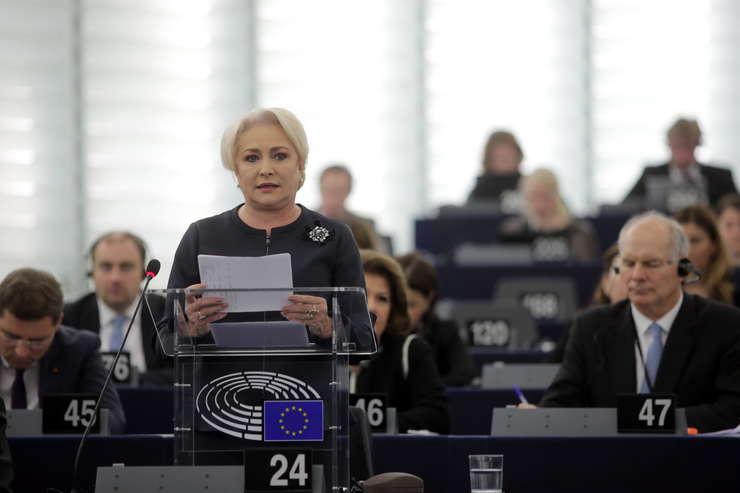 Premierul Viorica Dăncilă, în plenul PE (Sursa foto: gov.ro)