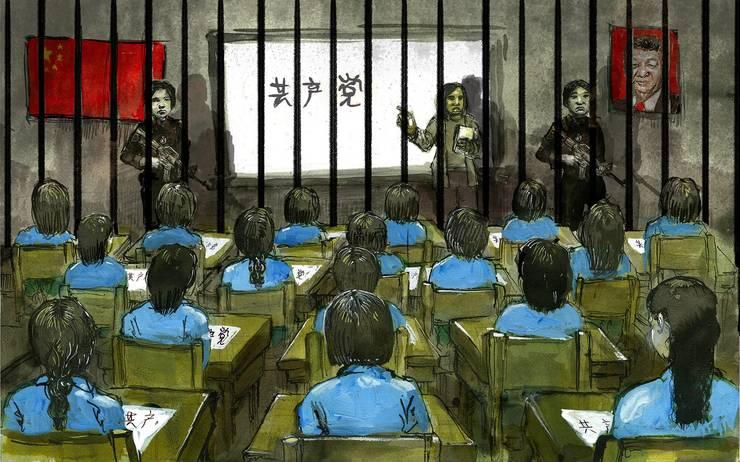 """""""Ore"""" într-un lagàr de internare din Xinjiang."""