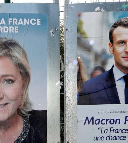 Afise de campanie: Marine le Pen si Emmanuel Macron