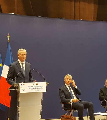 Bruno Le Maire, ministrul francez al Economiei, si Eugen Teodorovici, ministrul Finantelor publice, în deschiderea forumului economic Franta-România