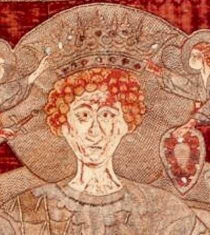 Detaliu din steagul cu Sfântul Mare Mucenic Gheorghe daruit la 1500 de Stefan cel Mare Manastirii Zografu din Muntele Athos.
