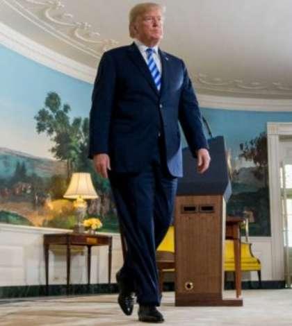 Presedintele Donald Trump la Casa Alba dupa anuntul iesirii din acordul nuclear iranian, 8 mai 2018