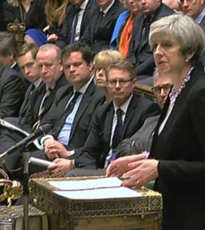 Theresa May, în Parlamentul britanic, joi, 23 martie 2017 (Foto: AFP)